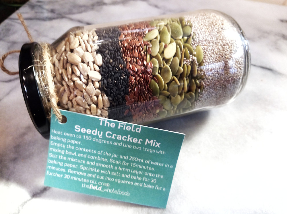 Seedy Cracker Mix in a jar