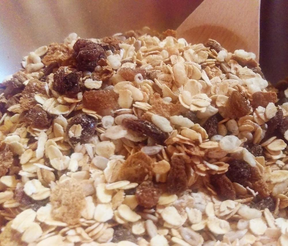 Muesli bar ingredients in mixing bowl