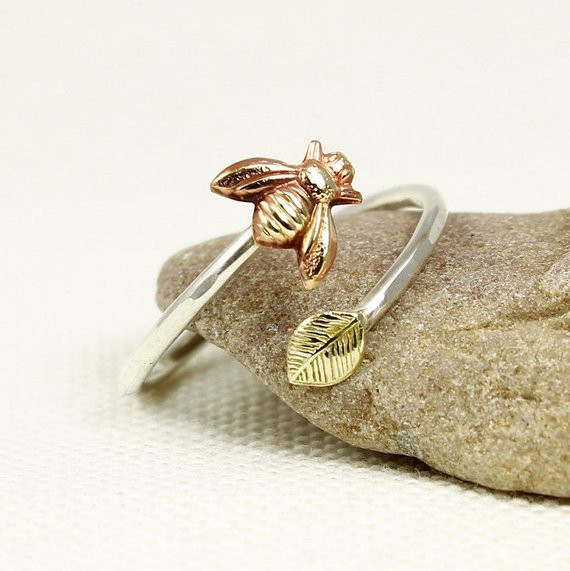 Bee and Leaf Ring