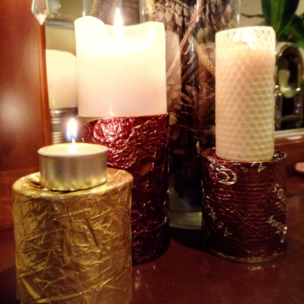 DIY Gold and Bronze Candle Holders
