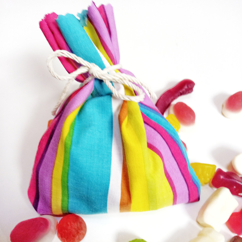 Plastic free party bags made from fabric and tied with natural cotton string