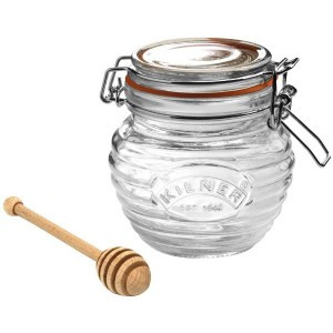 Glass Honey Pot and Drizzler Set
