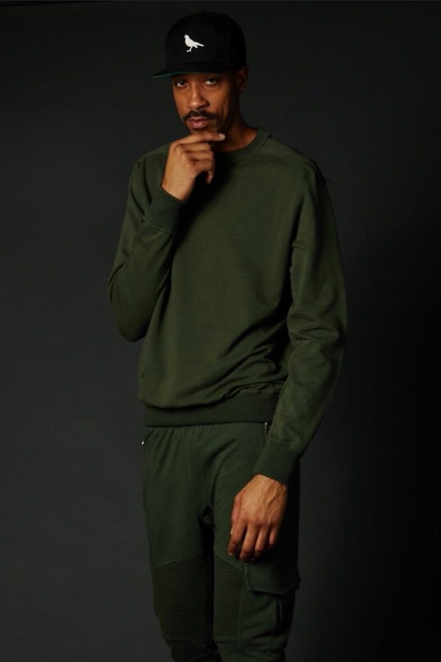 Green True Hills Over Sized Crew Neck Front