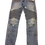 Front View True Hills Blue Zippered Biker Denim