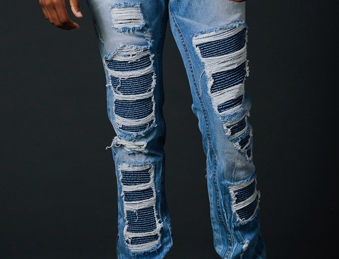 True Hills Ripped Biker Patch Denim w/ Zipper