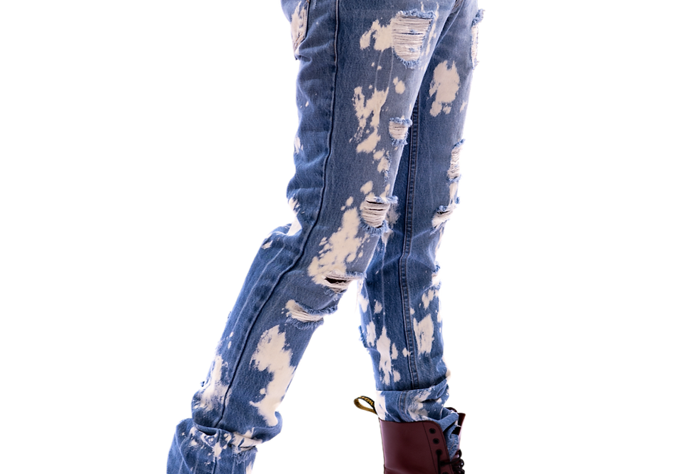 True Hills Ripped Paint Wash Denim