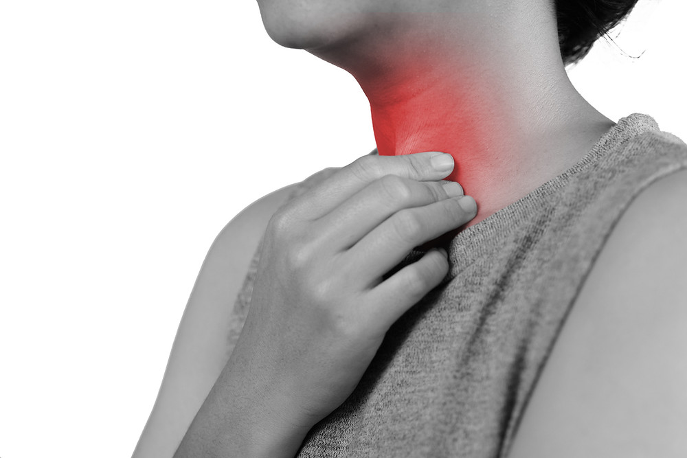 Person with hand to throat. Throat is shaded red to represent pain