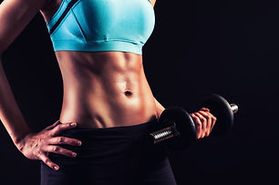 Fitness workout.Strong abs and body show