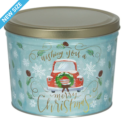 Merry Christmas Holiday Popcorn Tin