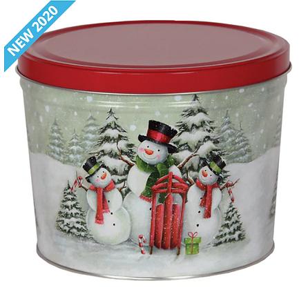 Snowman Family Holiday Popcorn Tin