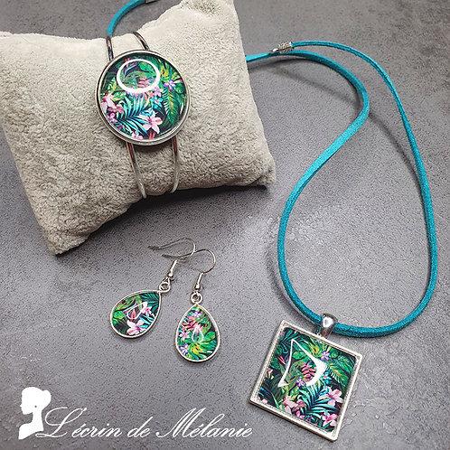 Collier, Bracelet et Boucles - Fleurs Tropicales