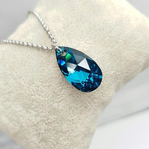 Collier - Goutte de Cristal Cobalt