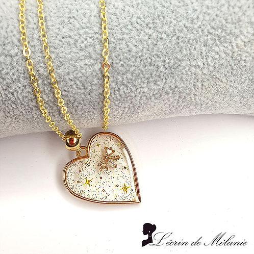 Collier - Coeur de resine doré