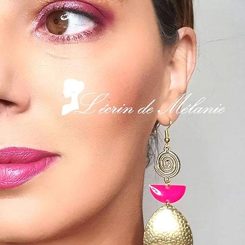 Boucles d'oreille - Marion (rose)