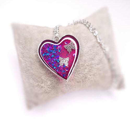 Collier Coeur de resine - Envolée