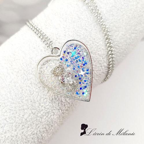 Collier Coeur de resine - Monsieur Nounours