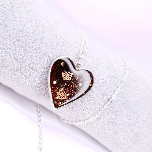 Collier Coeur de resine - Papillons
