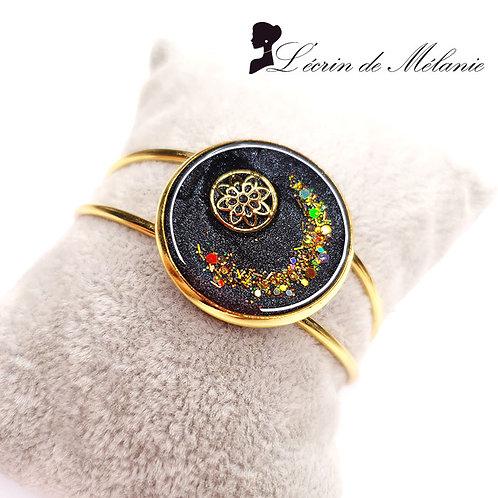 Bracelet - Mandala noir et or