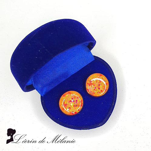 Puces 10 mm - Orange et rose