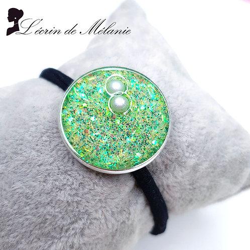 Chouchou Résine - Vert avec perles