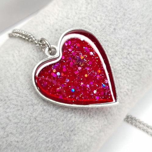 Collier Coeur de resine - With love