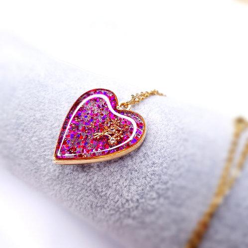 Coeur de resine - Bouquet de Printemps Rose