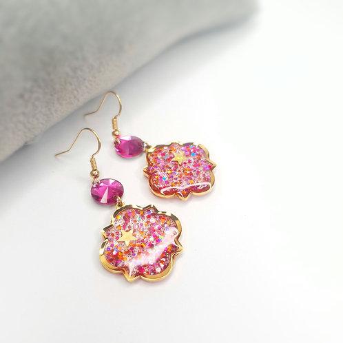 Boucles d'oreille - Les orientales (rose et orange)