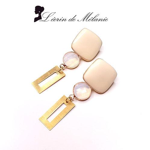 Boucles d'oreille - Laly (beige)