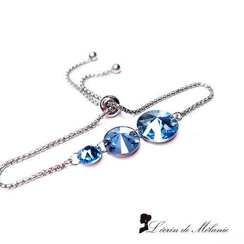 Bracelet -  Cristaux de Swarovski Bleu Aquarine