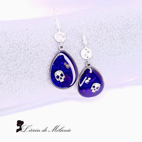 Boucles d'oreille - Purple Skull