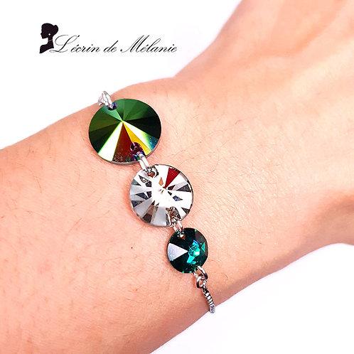 Bracelet - Trois Cristaux Vert Et Blanc