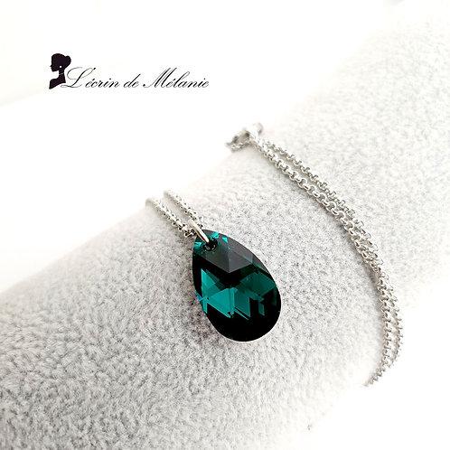 Collier - Goutte de Cristal Emerald