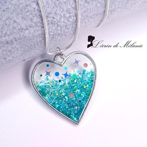 Coeur de resine - Vert d'eau