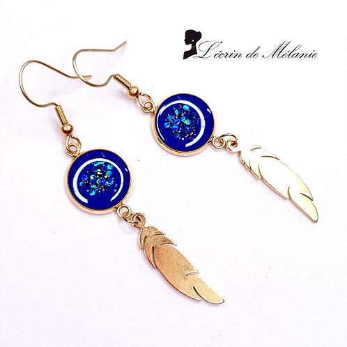 Boucles d'oreille - Plumes Dorées Bleues
