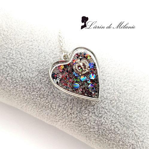 Collier Coeur de resine - My Queen