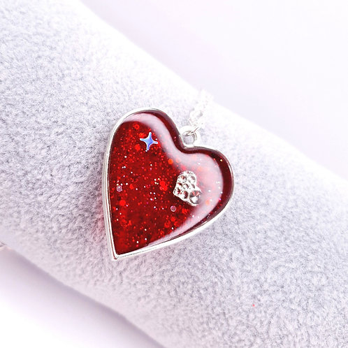 Collier Coeur de resine - I love U