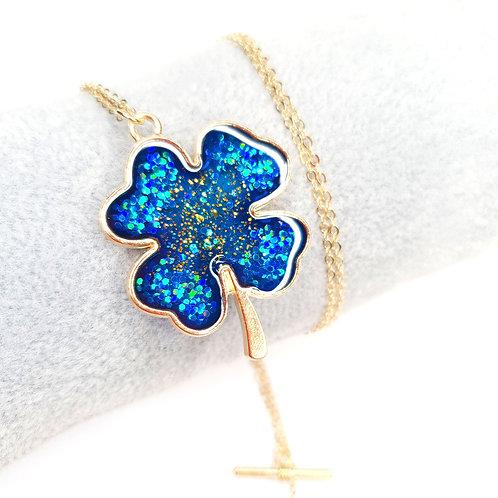 Collier -Trèfle Bleu