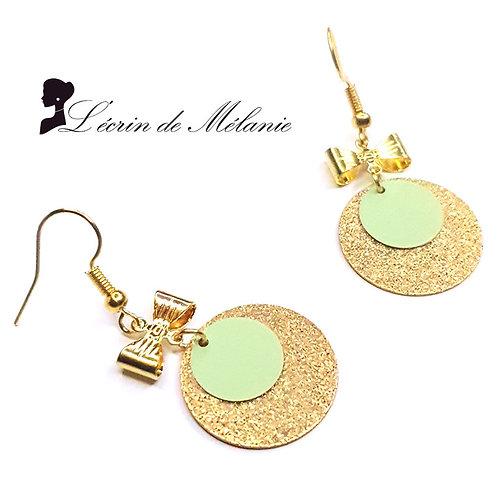 Boucles d'oreille - Laurette (vert pastel)