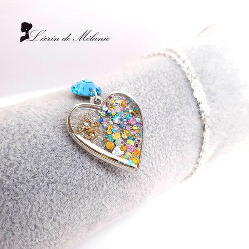 Collier Coeur de resine - Fleur de Lys
