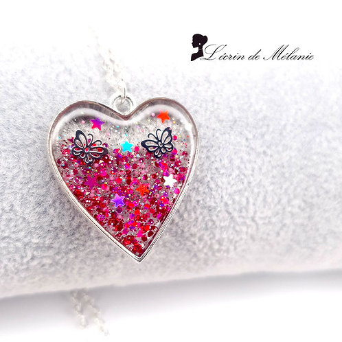 Collier Coeur de resine - La vie en rose