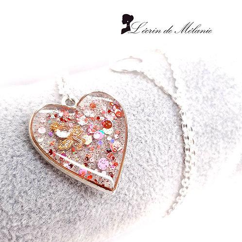 Collier Coeur de resine - Mon ange