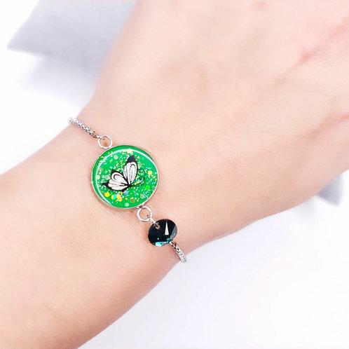Bracelet avec Swarovski - Papillon vert