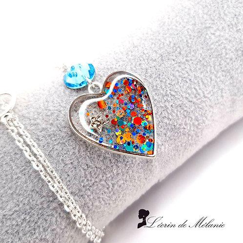 Collier Coeur de resine - Etoile du Berger
