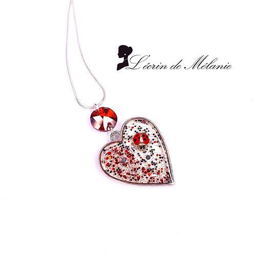 Collier Coeur de resine - Amour de coccinelle