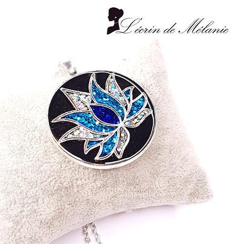 Collier - Fleur de Lotus - Bleu
