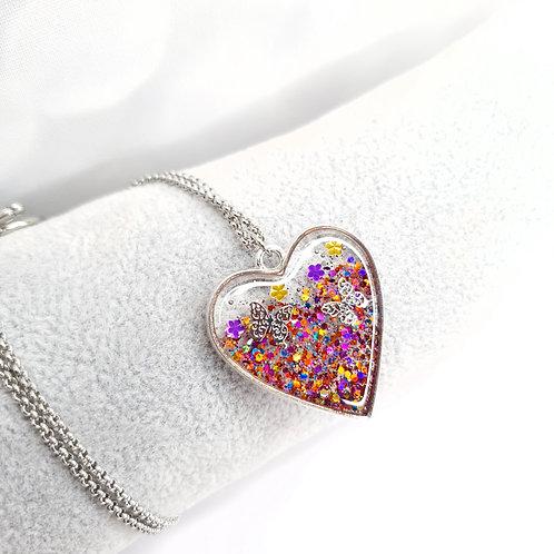 Collier Coeur de resine - Au printemps