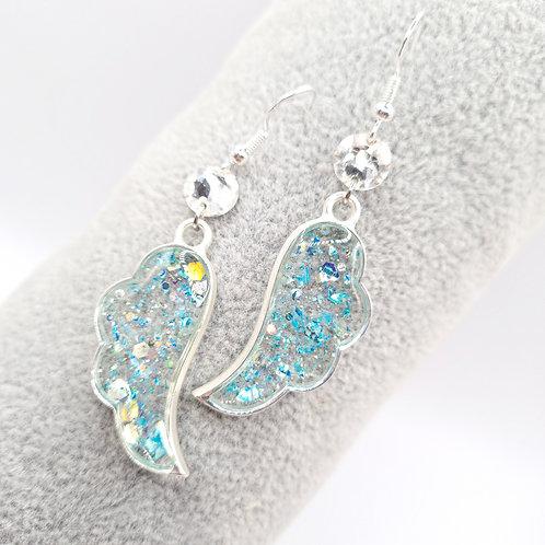 Boucles d'oreille - Ailes d'ange bleues