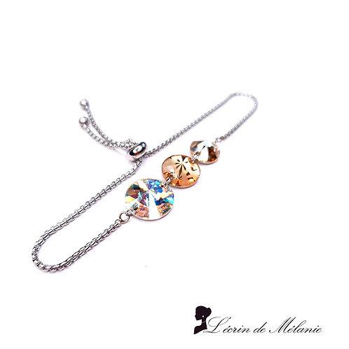 Bracelet -  Cristaux de Swarovski Topaze et Light peach