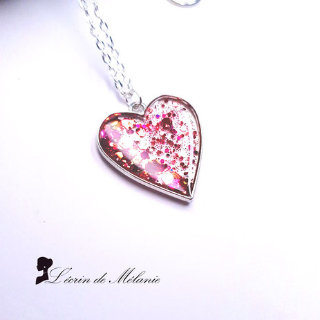 Coeur de Résine - Strass et paillettes