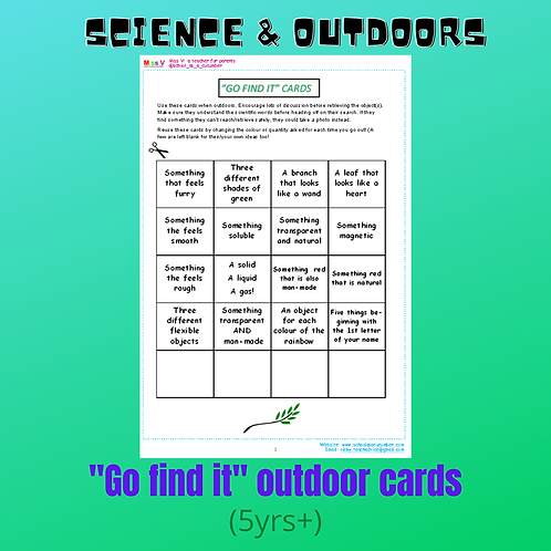 Outdoor 'Go find it!' cards